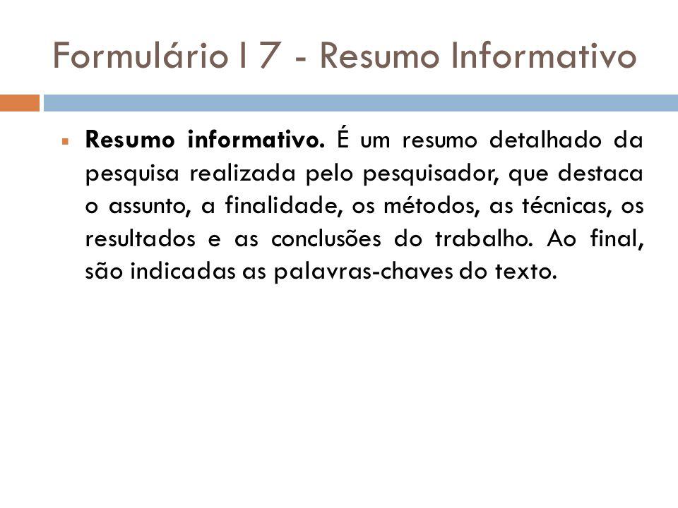Formulário I 7 - Resumo Informativo