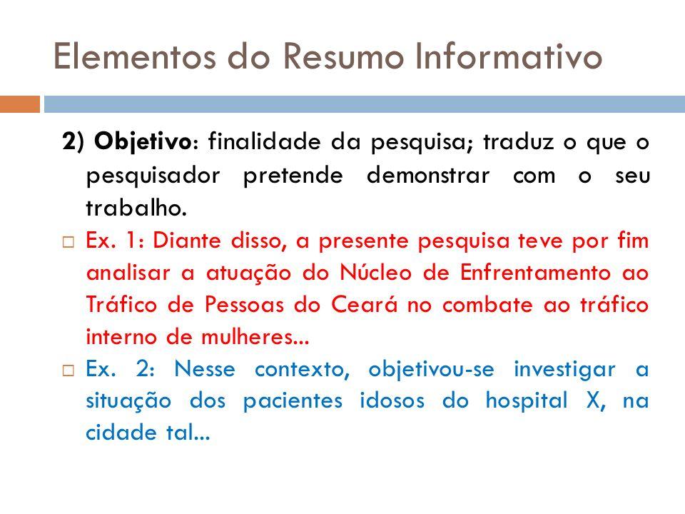 Elementos do Resumo Informativo