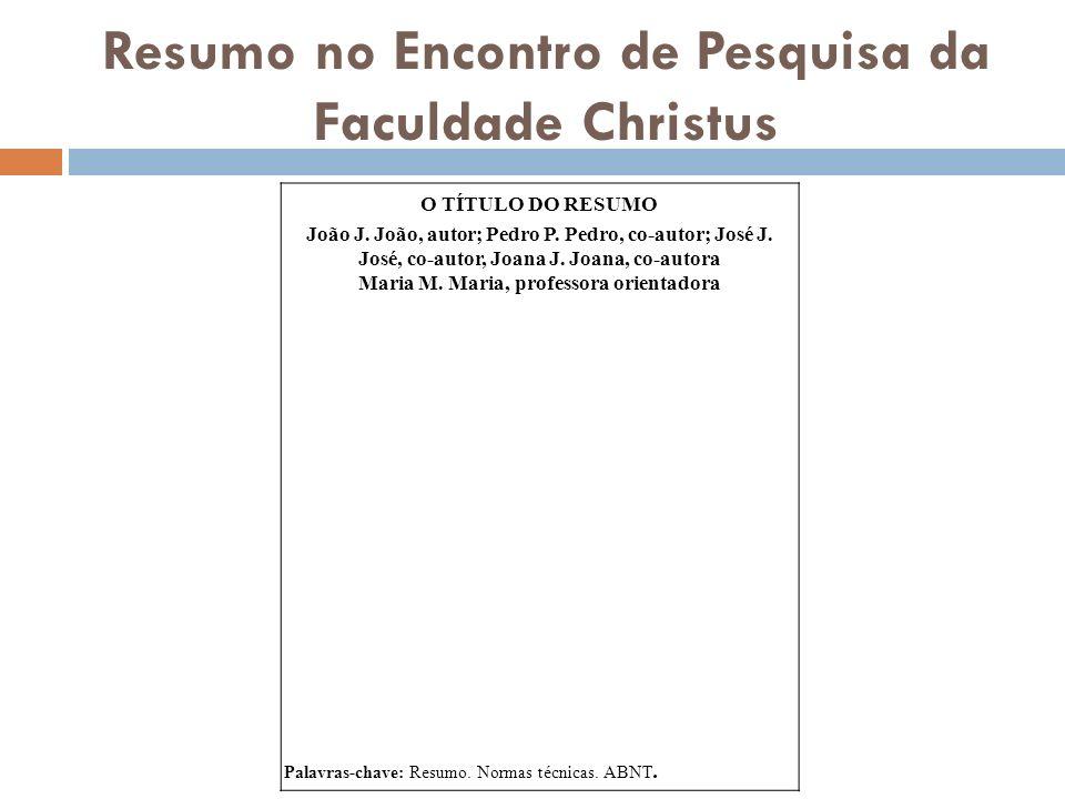 Resumo no Encontro de Pesquisa da Faculdade Christus