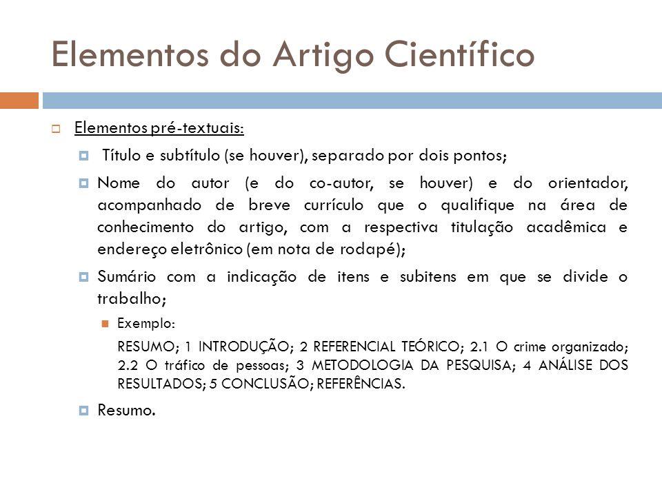 Elementos do Artigo Científico