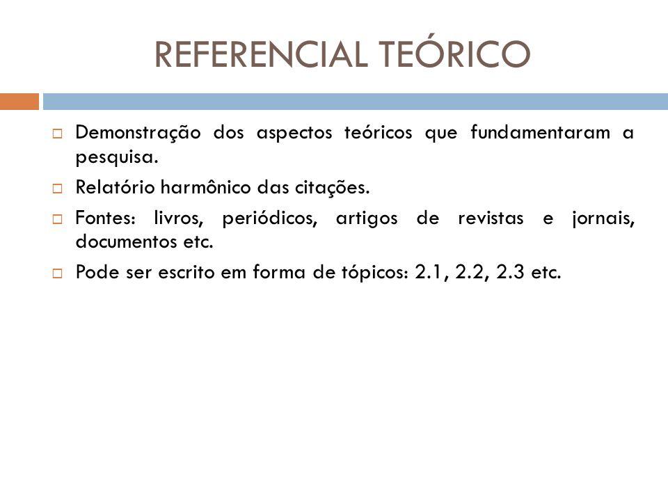 REFERENCIAL TEÓRICO Demonstração dos aspectos teóricos que fundamentaram a pesquisa. Relatório harmônico das citações.