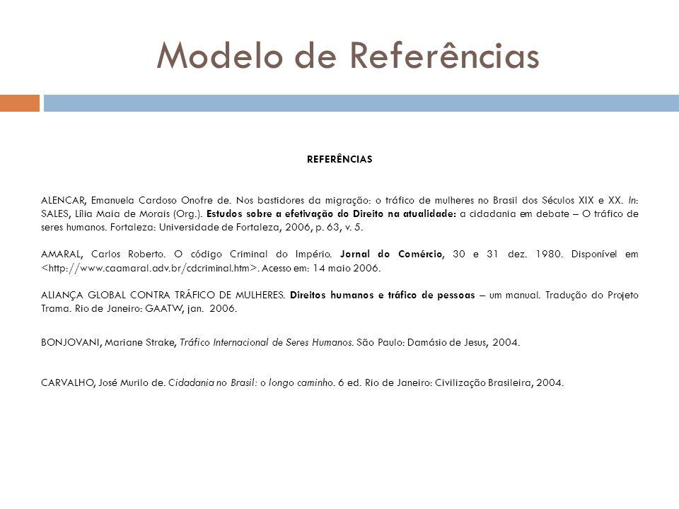 Modelo de Referências REFERÊNCIAS