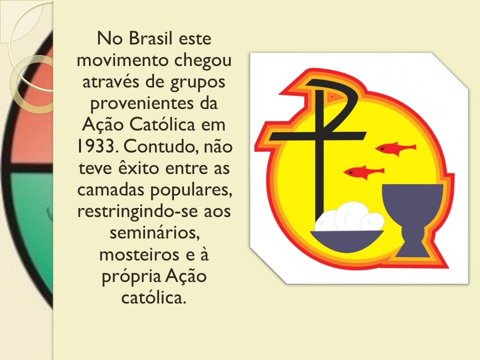 No Brasil este movimento chegou através de grupos provenientes da Ação Católica em 1933.