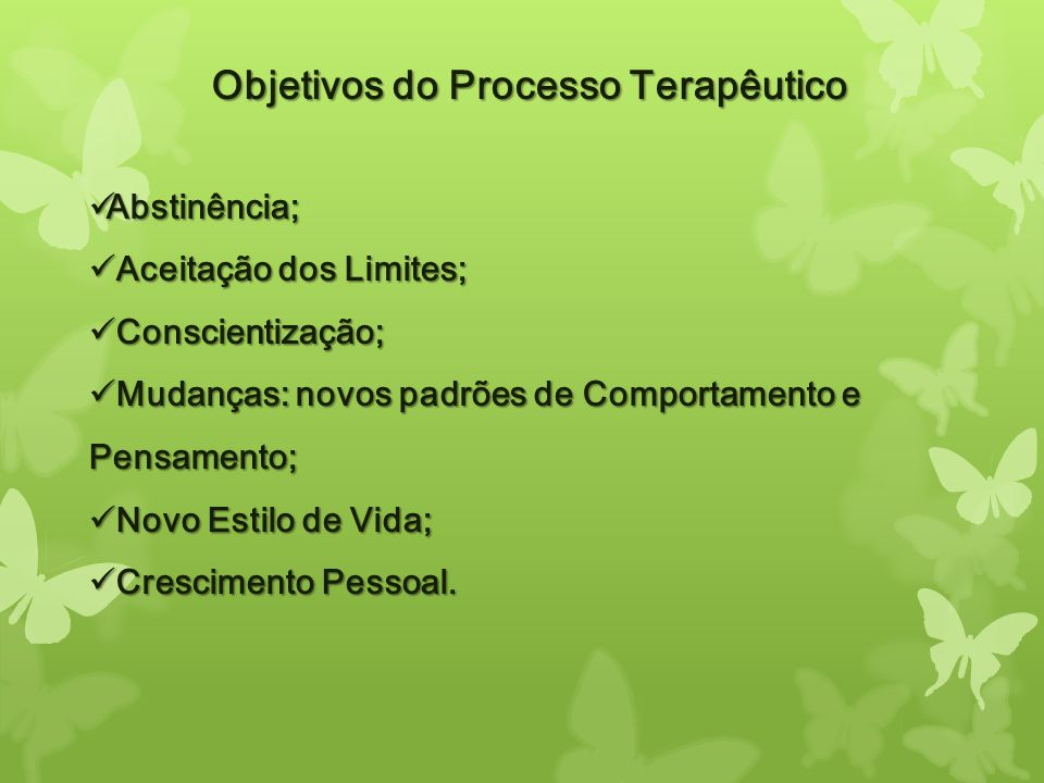 Objetivos do Processo Terapêutico