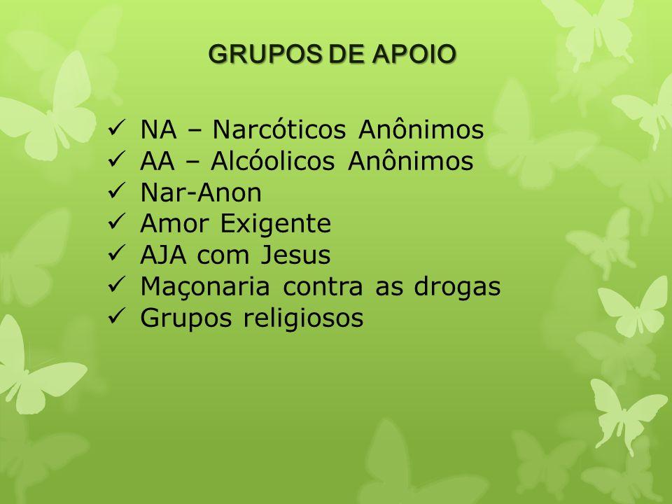 GRUPOS DE APOIO NA – Narcóticos Anônimos. AA – Alcóolicos Anônimos. Nar-Anon. Amor Exigente. AJA com Jesus.