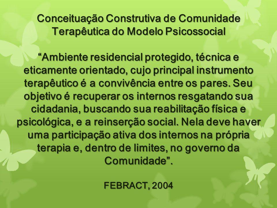 Conceituação Construtiva de Comunidade Terapêutica do Modelo Psicossocial