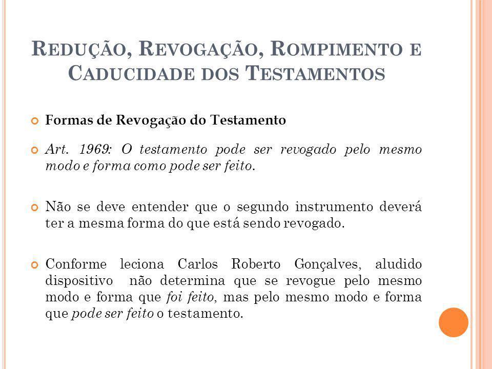 Redução, Revogação, Rompimento e Caducidade dos Testamentos
