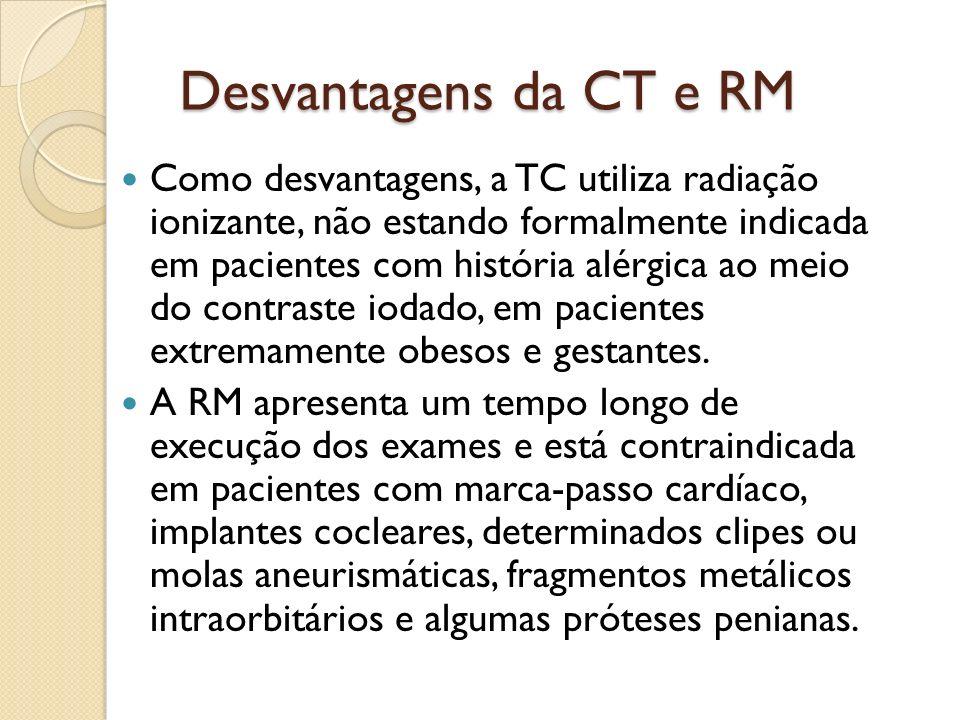 Desvantagens da CT e RM