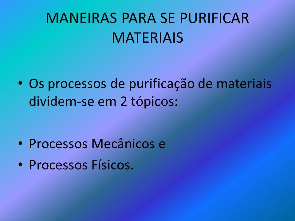 MANEIRAS PARA SE PURIFICAR MATERIAIS