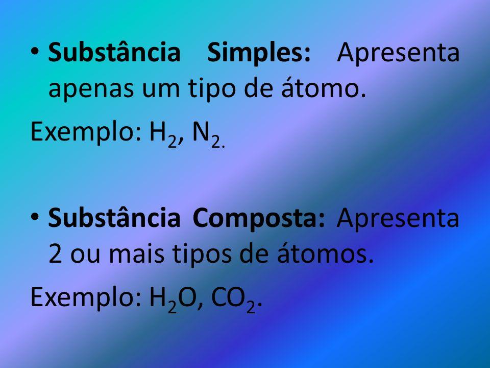 Substância Simples: Apresenta apenas um tipo de átomo.
