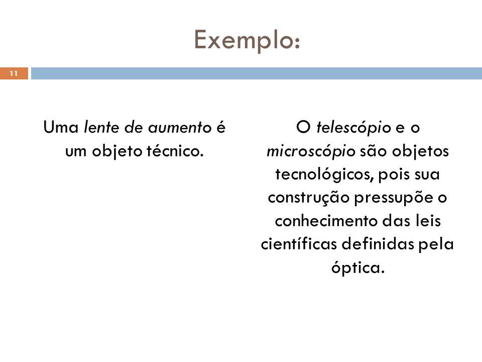 Uma lente de aumento é um objeto técnico.
