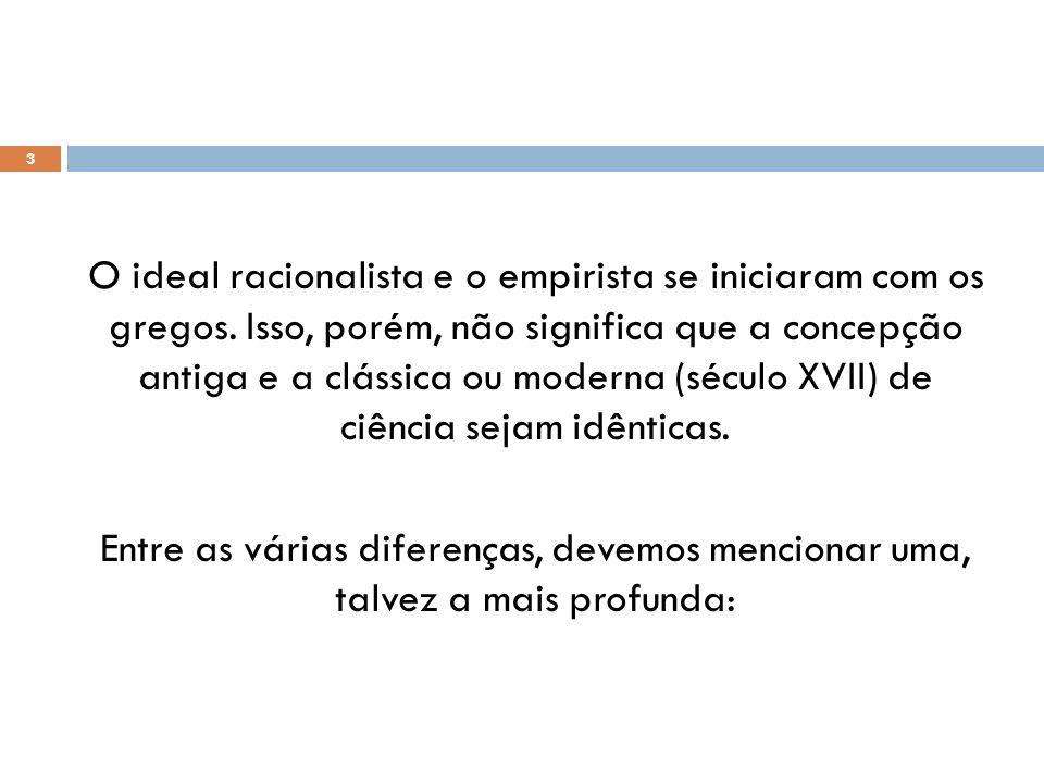 O ideal racionalista e o empirista se iniciaram com os gregos