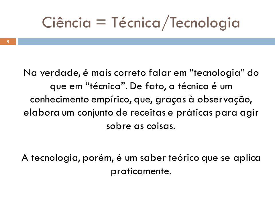 Ciência = Técnica/Tecnologia
