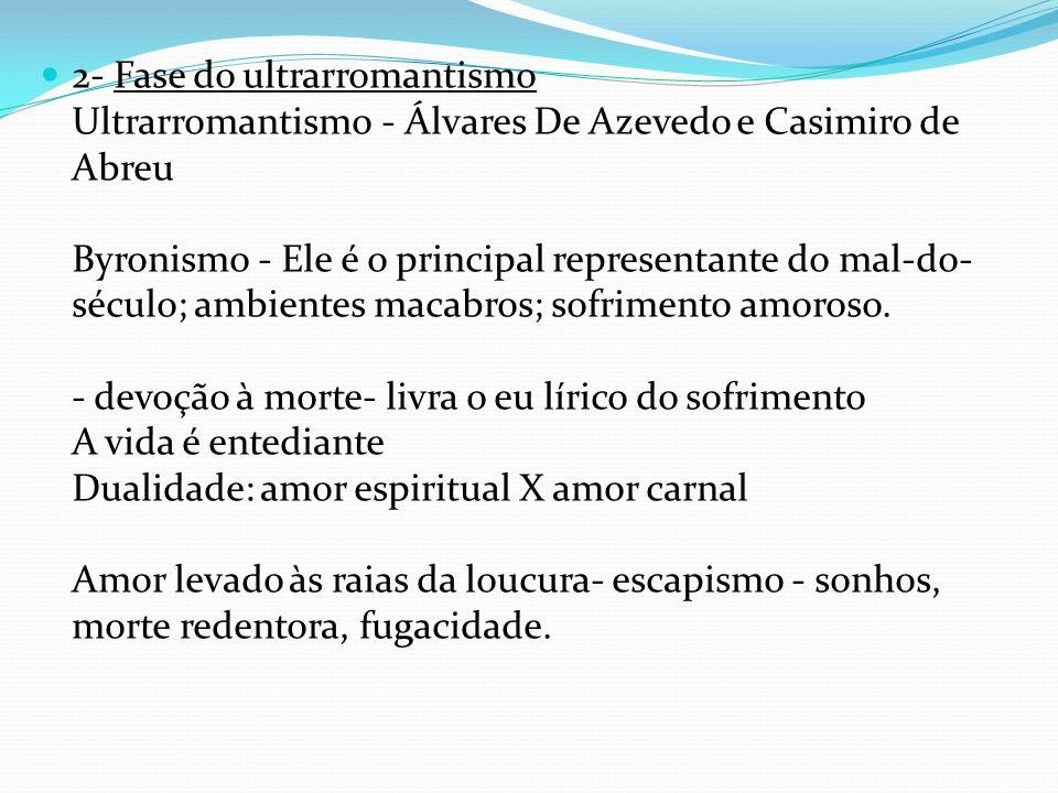 2- Fase do ultrarromantismo Ultrarromantismo - Álvares De Azevedo e Casimiro de Abreu Byronismo - Ele é o principal representante do mal-do-século; ambientes macabros; sofrimento amoroso.