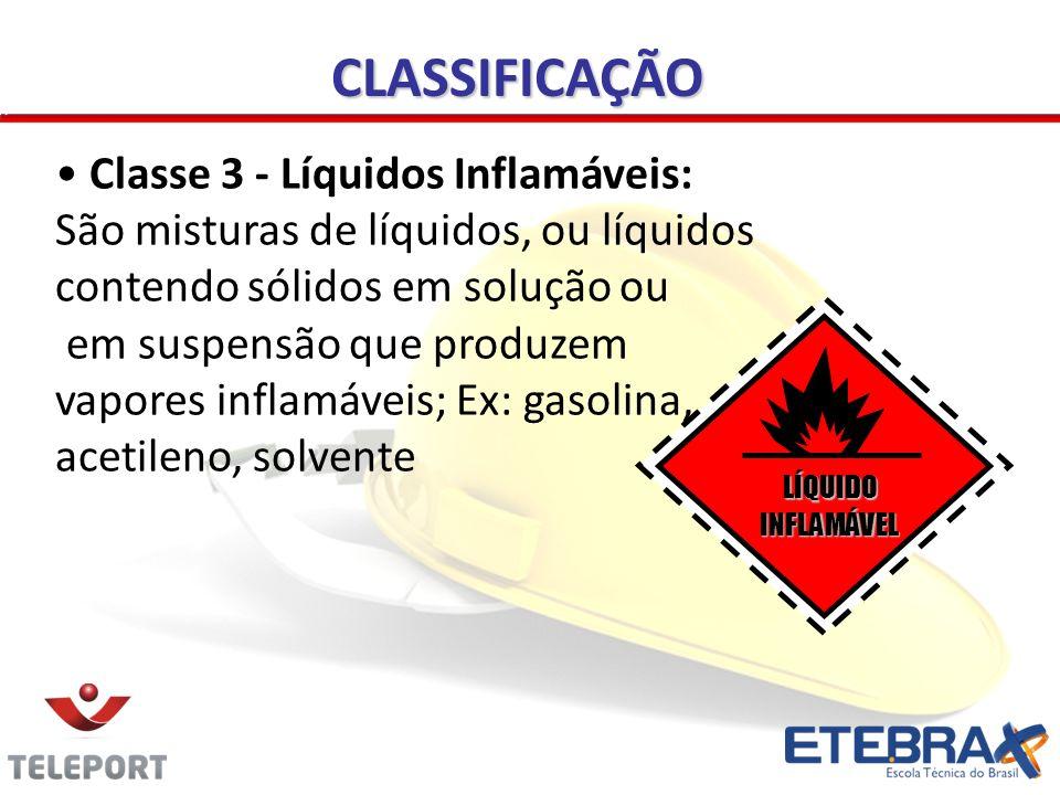 CLASSIFICAÇÃO Classe 3 - Líquidos Inflamáveis: