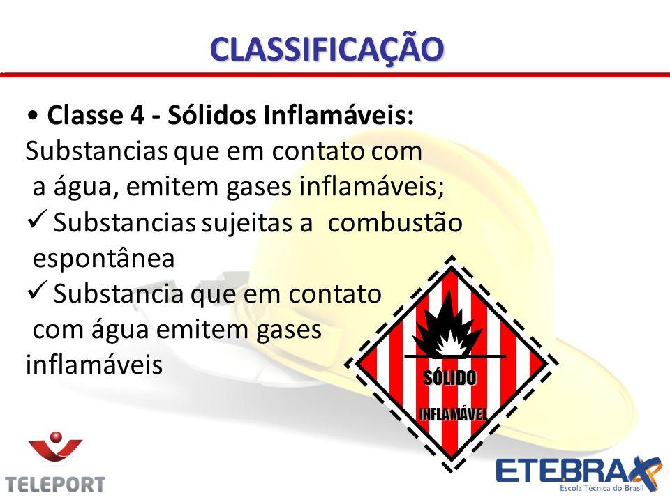 CLASSIFICAÇÃO INFLAMÁVEL Classe 4 - Sólidos Inflamáveis: