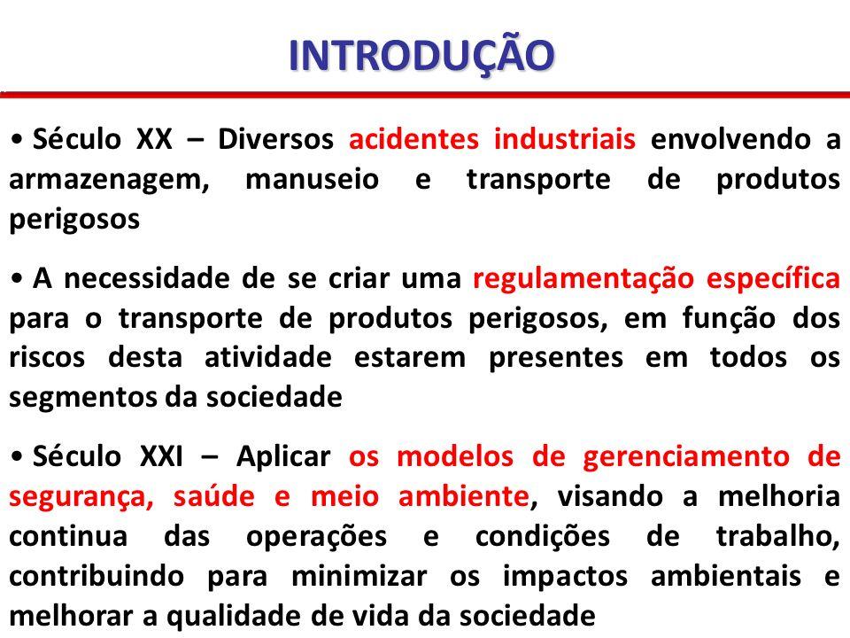 INTRODUÇÃO Século XX – Diversos acidentes industriais envolvendo a armazenagem, manuseio e transporte de produtos perigosos.
