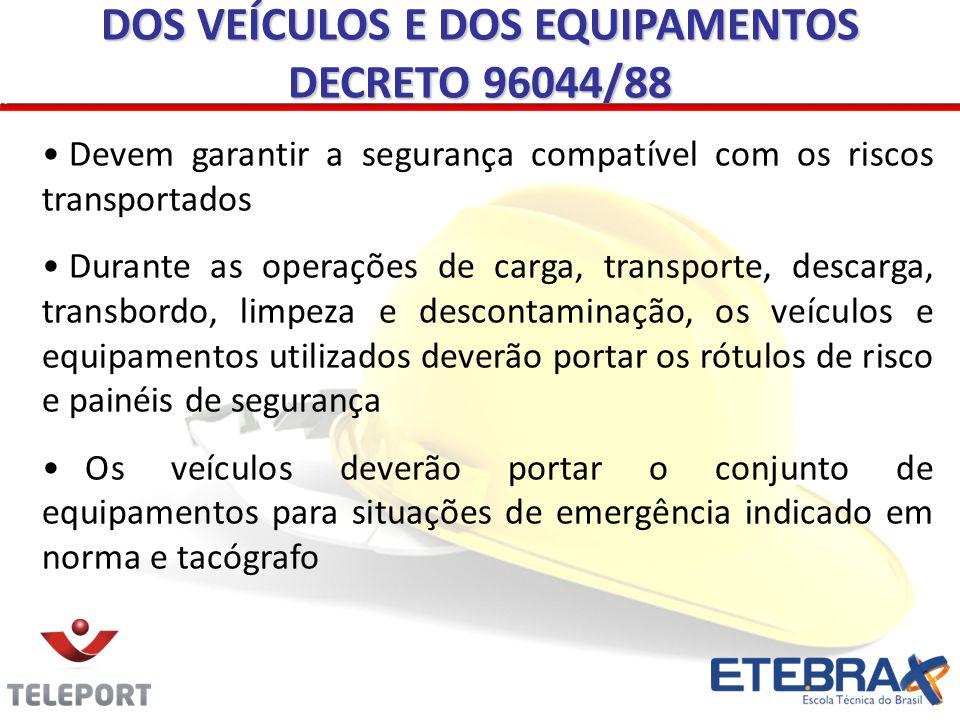 DOS VEÍCULOS E DOS EQUIPAMENTOS DECRETO 96044/88
