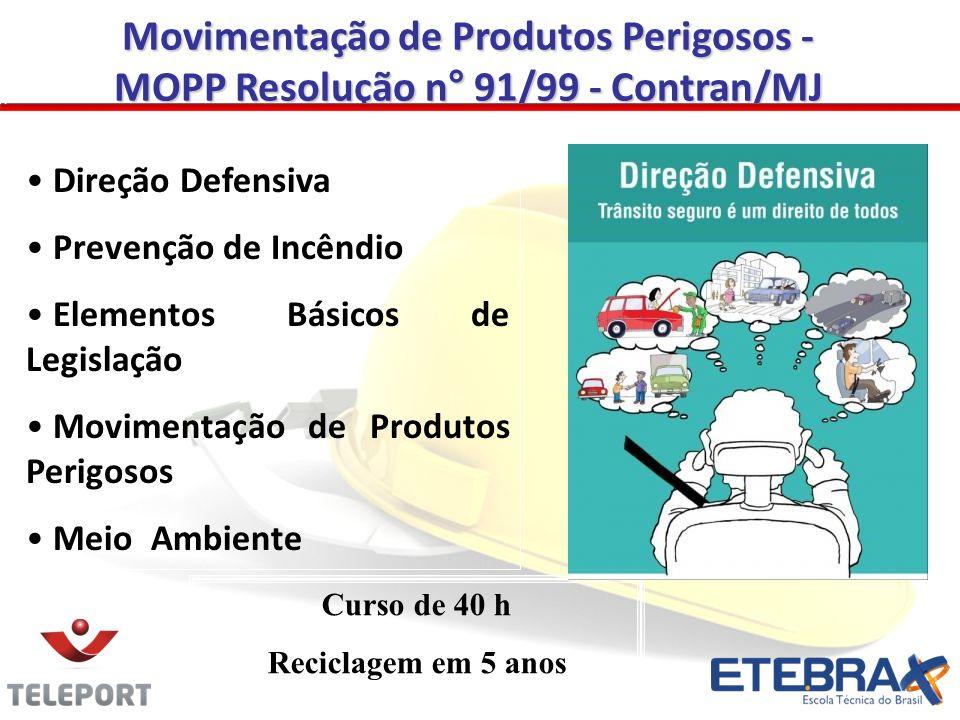 Movimentação de Produtos Perigosos - MOPP Resolução n° 91/99 - Contran/MJ