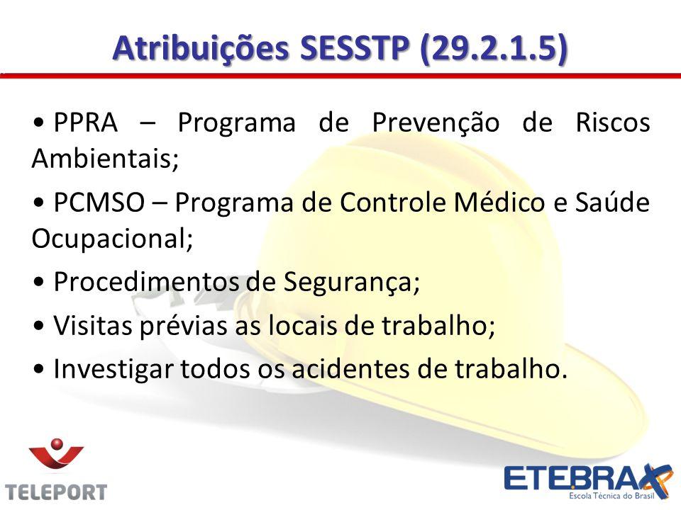 Atribuições SESSTP (29.2.1.5) PPRA – Programa de Prevenção de Riscos Ambientais; PCMSO – Programa de Controle Médico e Saúde Ocupacional;