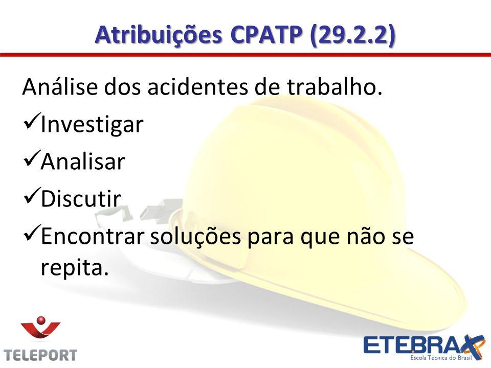 Atribuições CPATP (29.2.2) Análise dos acidentes de trabalho.