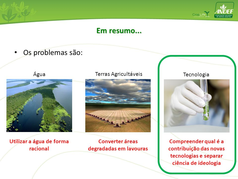 Em resumo... Os problemas são: Água Terras Agricultáveis Tecnologia