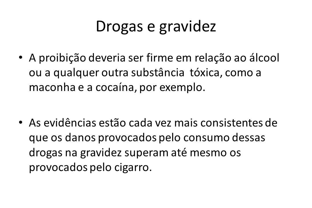Drogas e gravidez A proibição deveria ser firme em relação ao álcool ou a qualquer outra substância tóxica, como a maconha e a cocaína, por exemplo.