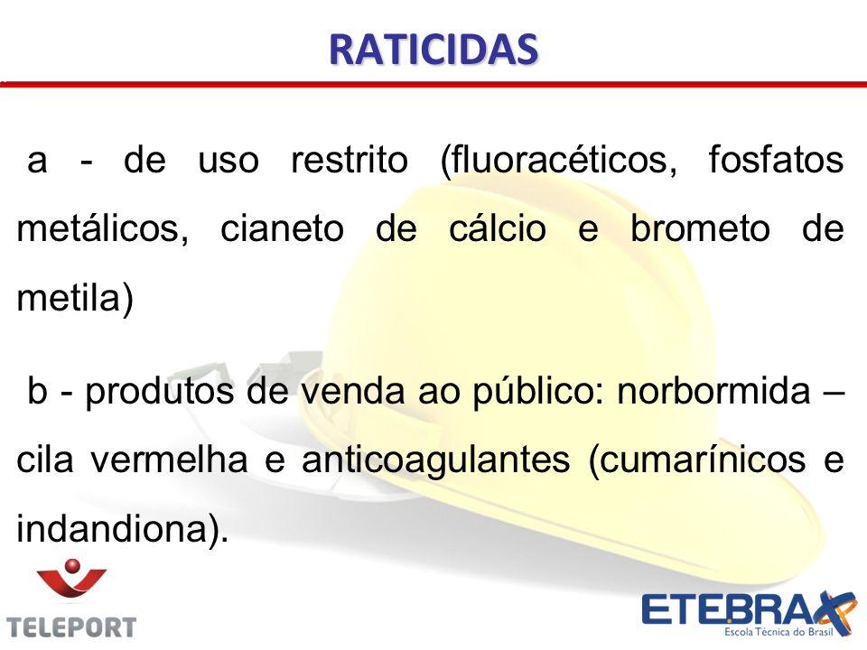 RATICIDAS a - de uso restrito (fluoracéticos, fosfatos metálicos, cianeto de cálcio e brometo de metila)