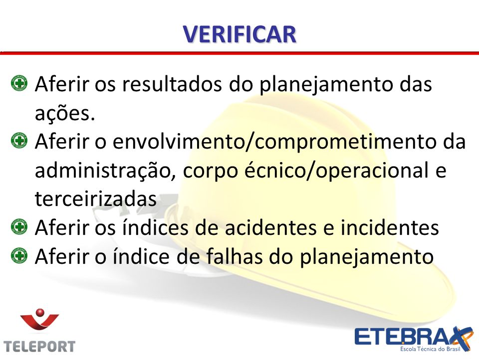 VERIFICAR Aferir os resultados do planejamento das ações.