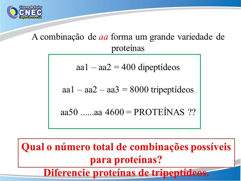 Qual o número total de combinações possíveis para proteínas
