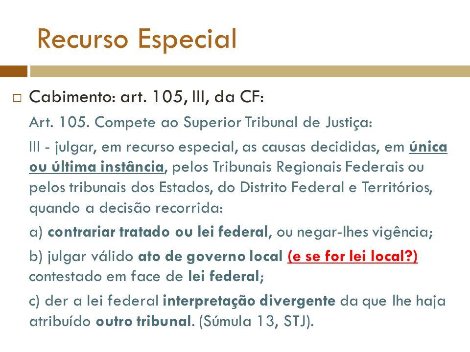 Recurso Especial Cabimento: art. 105, III, da CF: