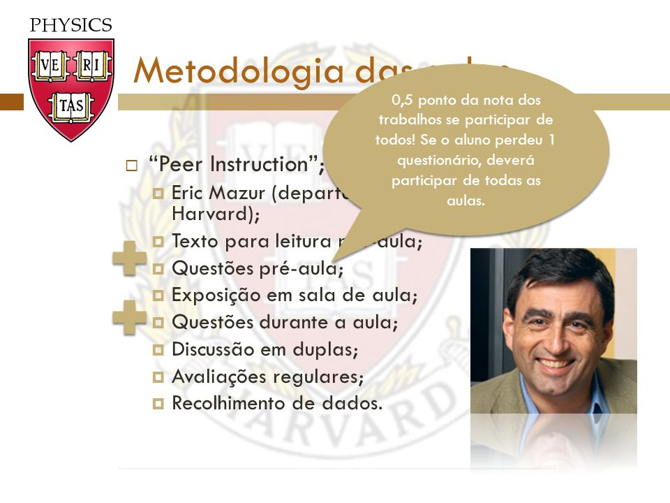 Metodologia das aulas Peer Instruction ;
