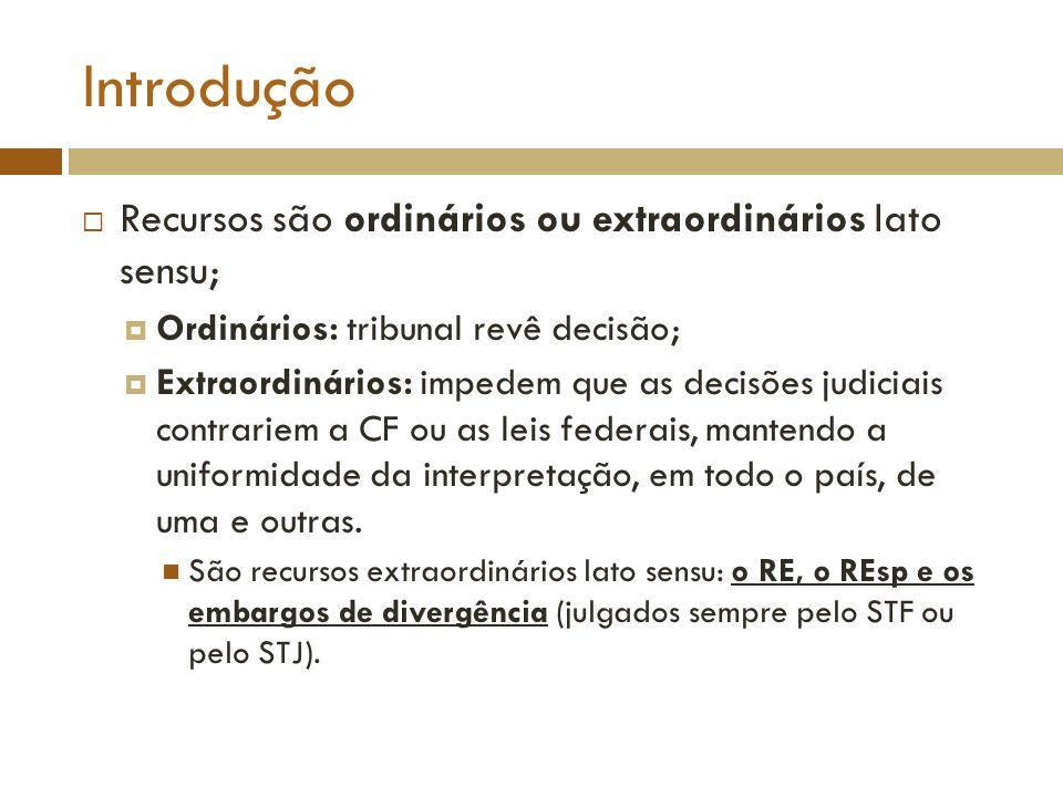 Introdução Recursos são ordinários ou extraordinários lato sensu;