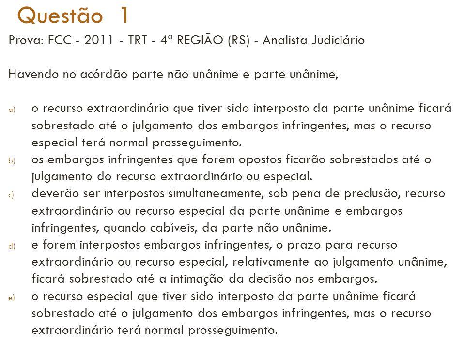 Questão 1 Prova: FCC - 2011 - TRT - 4ª REGIÃO (RS) - Analista Judiciário. Havendo no acórdão parte não unânime e parte unânime,