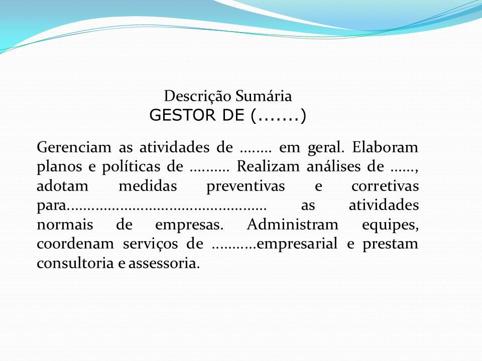 Descrição Sumária GESTOR DE (.......)