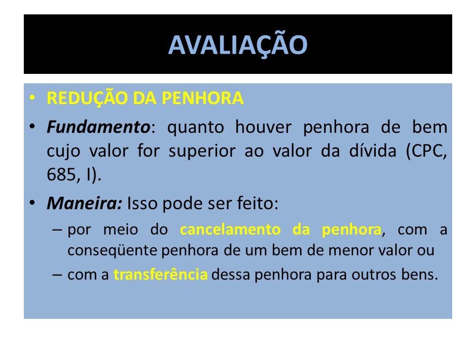 AVALIAÇÃO REDUÇÃO DA PENHORA