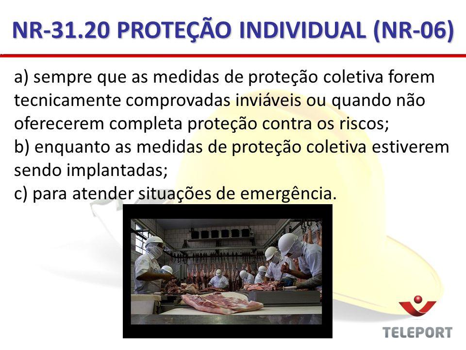 NR-31.20 PROTEÇÃO INDIVIDUAL (NR-06)