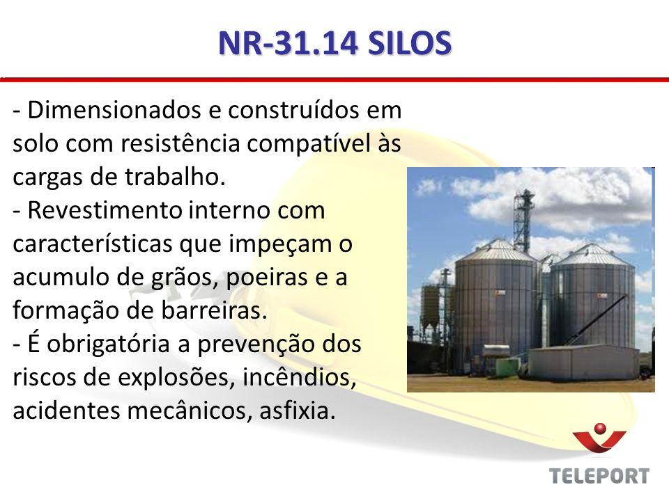 NR-31.14 SILOS Dimensionados e construídos em solo com resistência compatível às cargas de trabalho.