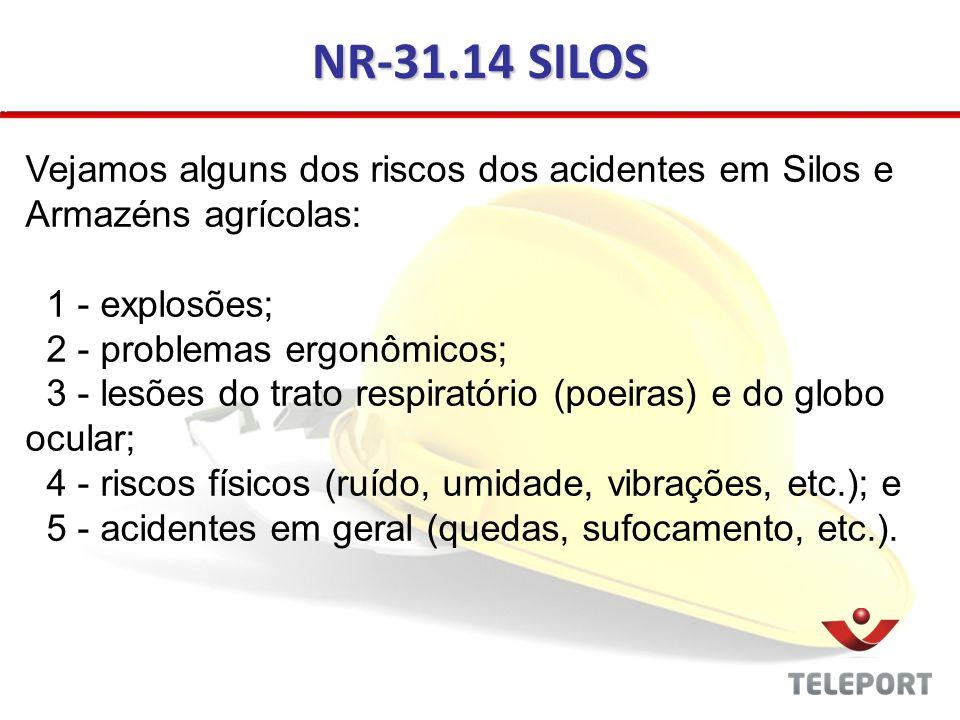 NR-31.14 SILOS Vejamos alguns dos riscos dos acidentes em Silos e Armazéns agrícolas: 1 - explosões;