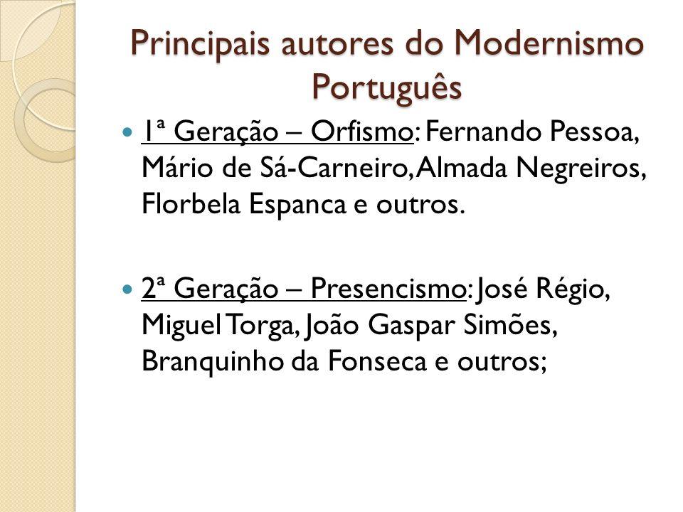 Principais autores do Modernismo Português