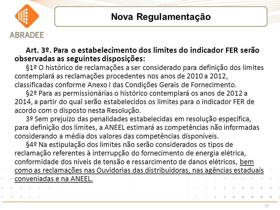 Nova Regulamentação Art. 3º. Para o estabelecimento dos limites do indicador FER serão observadas as seguintes disposições: