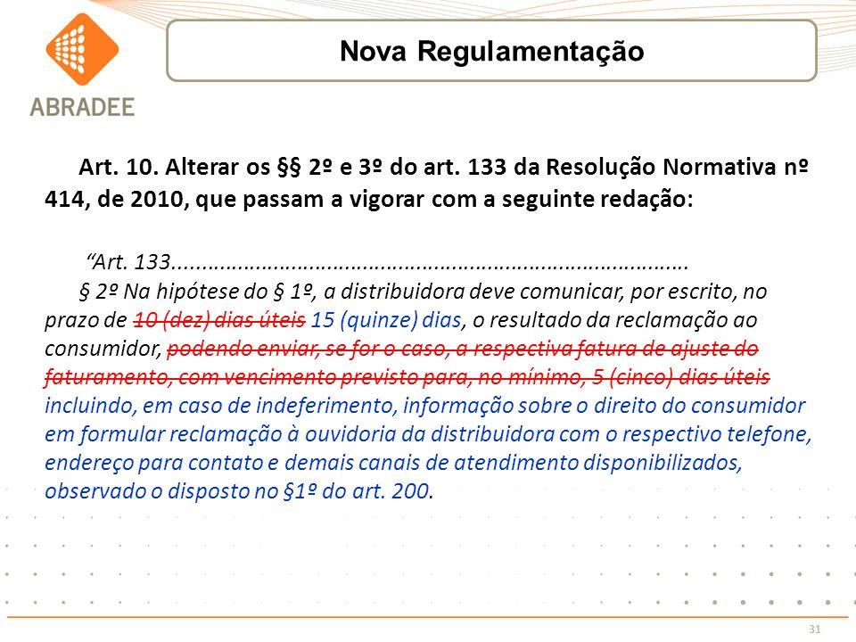 Nova Regulamentação Art. 10. Alterar os §§ 2º e 3º do art. 133 da Resolução Normativa nº 414, de 2010, que passam a vigorar com a seguinte redação: