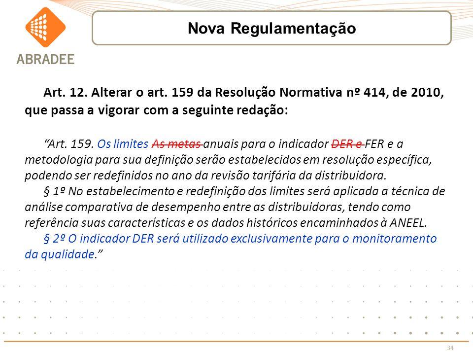 Nova Regulamentação Art. 12. Alterar o art. 159 da Resolução Normativa nº 414, de 2010, que passa a vigorar com a seguinte redação:
