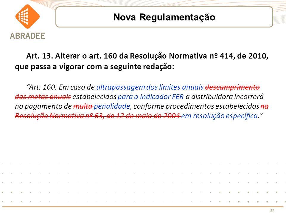 Nova Regulamentação Art. 13. Alterar o art. 160 da Resolução Normativa nº 414, de 2010, que passa a vigorar com a seguinte redação: