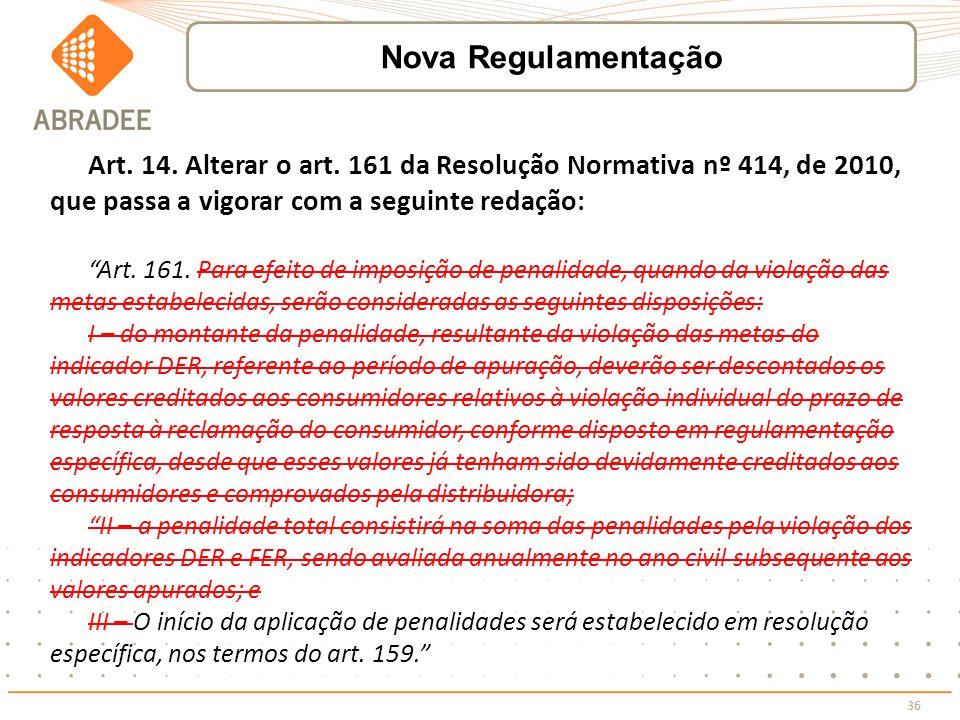 Nova Regulamentação Art. 14. Alterar o art. 161 da Resolução Normativa nº 414, de 2010, que passa a vigorar com a seguinte redação: