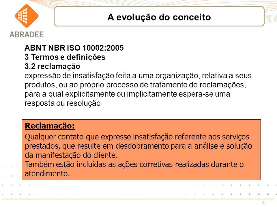 A evolução do conceito ABNT NBR ISO 10002:2005 3 Termos e definições