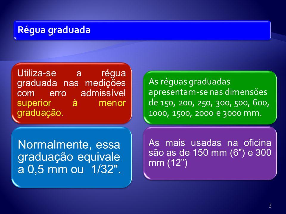 Régua graduada Utiliza-se a régua graduada nas medições com erro admissível superior à menor graduação.