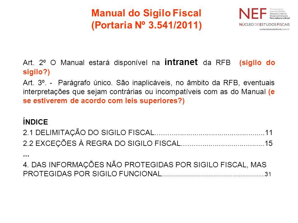 Manual do Sigilo Fiscal (Portaria Nº 3.541/2011)