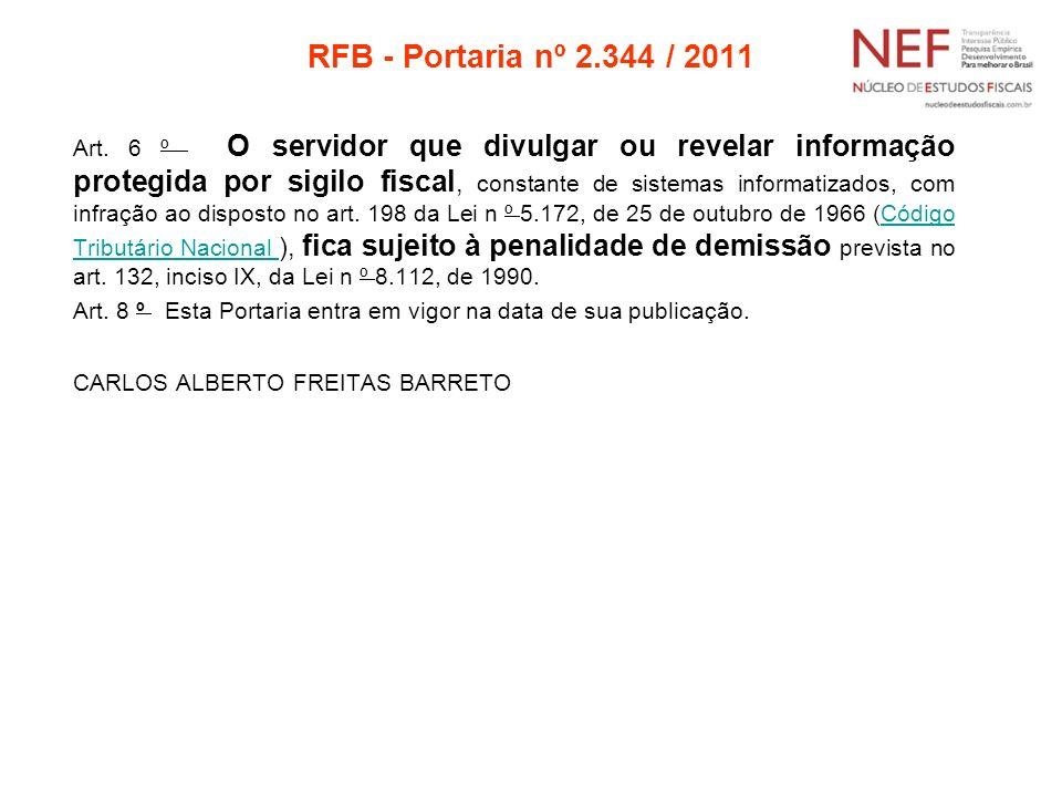 RFB - Portaria nº 2.344 / 2011