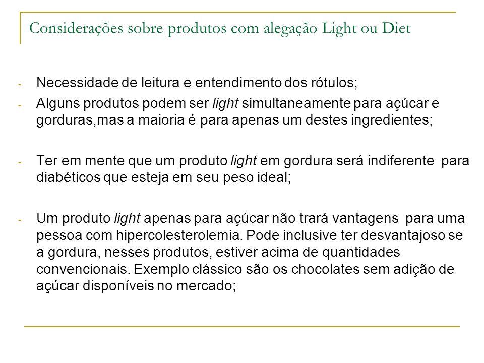 Considerações sobre produtos com alegação Light ou Diet